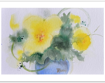 Floral Art Painting, Yellow Roses in Vase, Original Still Life Painting, Watercolor Painting Yellow, Modern Kitchen Art, Christmas Gift