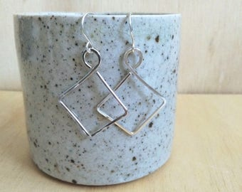 Sterling Silver Earrings. Square Hoop Earrings. Recycled Sterling Silver. Silver dangle earrings. Diamond Hoop Earrings. Wire earrings