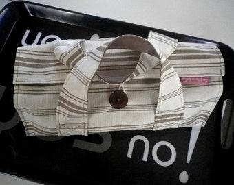 Bag cake ecru striped fabric and taupe - gift idea