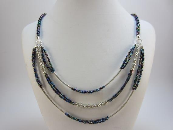 Almost Steampunk Multi-Strand Necklace Multistrand Silver Necklace Multi-Strand Necklace