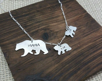 Mama Bear Necklace, Mama Bear Jewelry , Bear Cubs Necklace, Bear Cub Jewelry, Mothers Necklace, Mom Necklace, Mama Bear and her Cubs