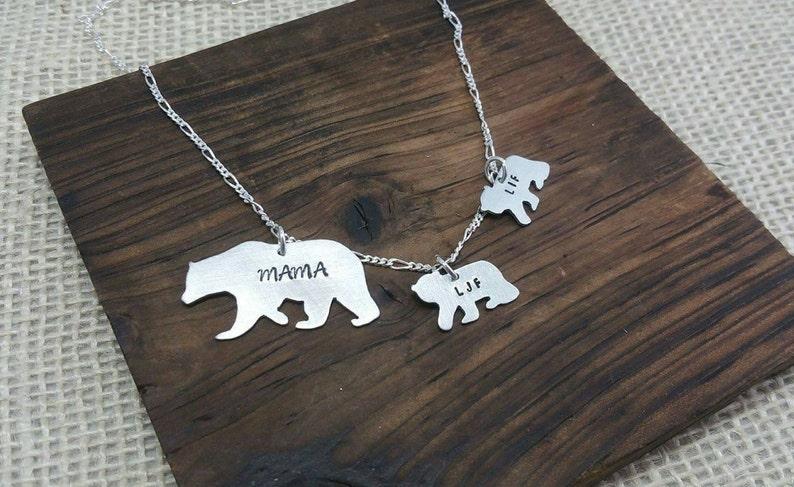 Mama Bear Necklace Mama Bear Jewelry  Bear Cubs Necklace image 1