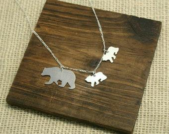 Mama Bear Necklace Mama Bear Jewelry Bear Cubs Necklace Bear Cub Jewelry Mothers Necklace Mom Necklace Mama Bear and her Cubs