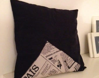 """""""Journal"""" in black and white print pillow cover"""