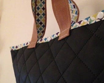 Large faux brown leather tote