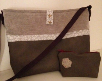 Bag and wallet in faux leather and velvet