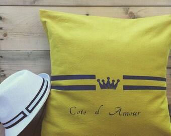 Ochre yellow linen pillow cover