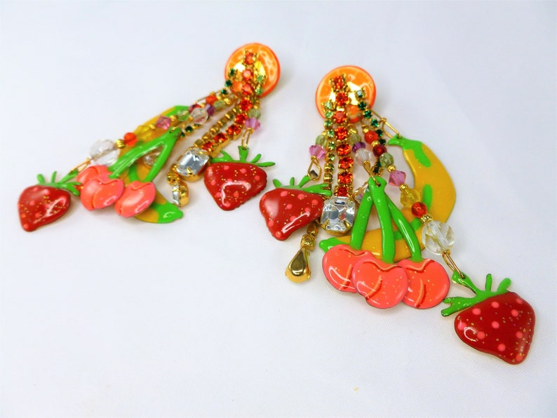 Lunch at the Ritz Designer earrings-Vintage solid 14K Gold post earrings-Glitzi Fruit earrings-Large dangle earrings-Bright yellow Earrings