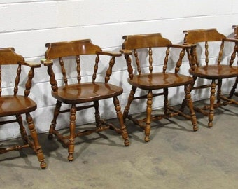 Vintage Ethan Allen Nutmeg Maple Mate Chairs Set Of 5, Very Good To  Excellent Condition... ***Please Note Shipping Instructions***