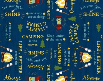3b0f09e6f Gone Glamping Blue Word Toss by Anne Rowan for Wilmington Prints 68485-455  quilting cotton blue camping trailer words