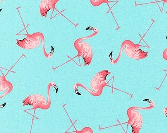 PRETTY ROSE AND HUBBLE PINK FLAMINGO PRINT FABRIC 100/% COTTON HALF METRES