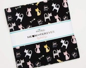 Meow and Forever 10 quot Stacker (layer cake) by My Mind 39 s Eye for Riley Blake 10-7840-42 pink and black cotton precut quilting 42 10 quot squares