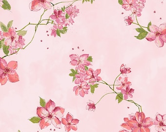 Pink Florals with gold Metallic Accents cotton fabric from Hoffman P7567-391G woven quilting pink and blue birds yardage