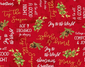 Comfort and Joy Red Holiday Words with metallic accents cotton fabric by Whistler Studios for Windham 51886M-4 christmas yardage