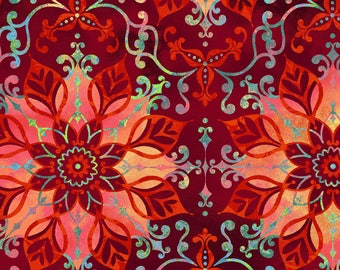Aflutter Scarlet Floral Medallion by Elizabeth Isles Studio E quilting cotton fabric by the yard metre 3914S-88 red orange flowers