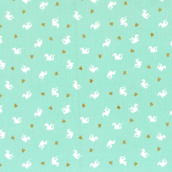 More 100/%Cotton Metallic Baby Dragon Pink  Michael Miller Fabric FQ