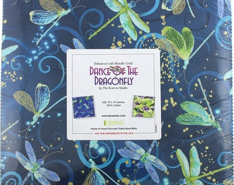 Dance of the Dragonfly Layer Cake by Kanvas Benartex - metallic precut 10 inch squares DOD10PK 40 pieces cotton fabric quilting blue green