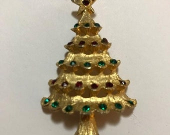 4ef644d8129 MOVING SALE Beautiful Vintage MYLU Christmas Tree Pin - Book Piece / Free  Shipping