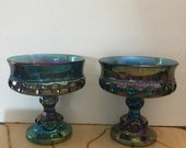 SALE Vintage Indiana Iridescent Carnival Blue Kings Crown Candy Pedestal Compote