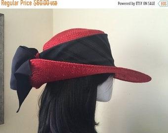 739cda1ba39 SALE Vintage Whittall   Shon Women s Red Straw Black Ribbon Derby Cocktail  Special Occassion Wedding Wide Brim Hat