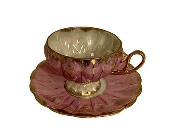 Vintage Pink /& Gold Lusterware Tea Cup Set Footed Tea Cup Mom Gift Bridesmaid Gift Tea Party Very Fine Porcelain Bridal Shower Gift