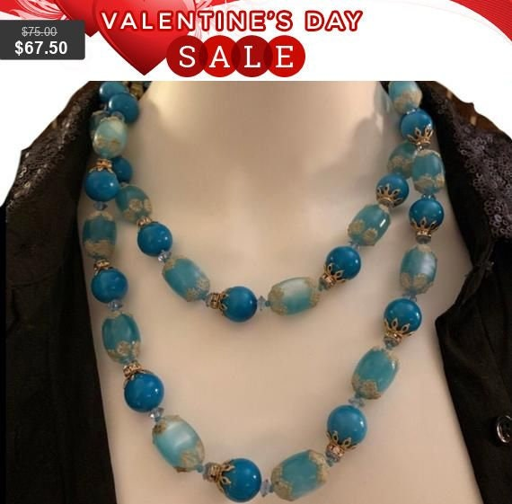 Vintage Vendome Turquoise Long Necklace w/Art Bead