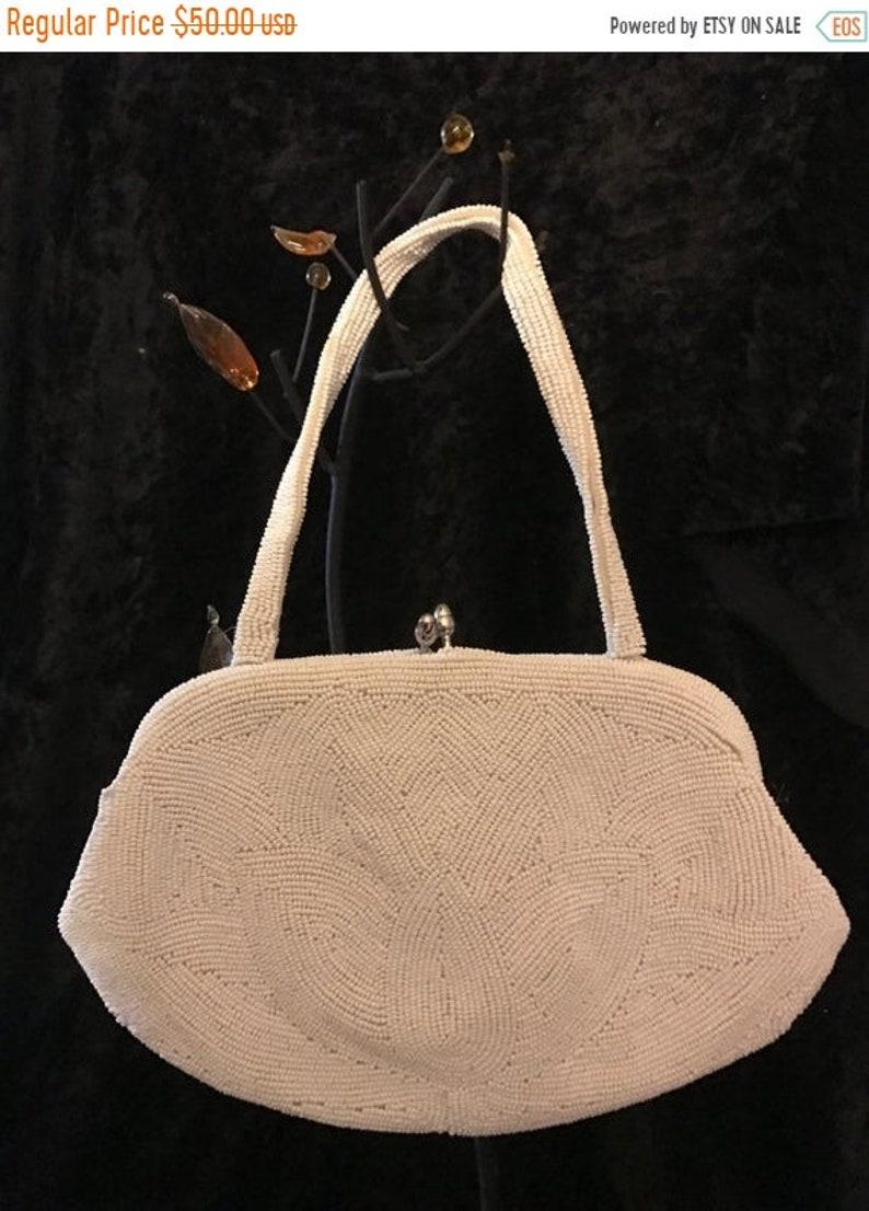 SUMMER END SALE Vintage 50s White Beaded Purse Julius image 0