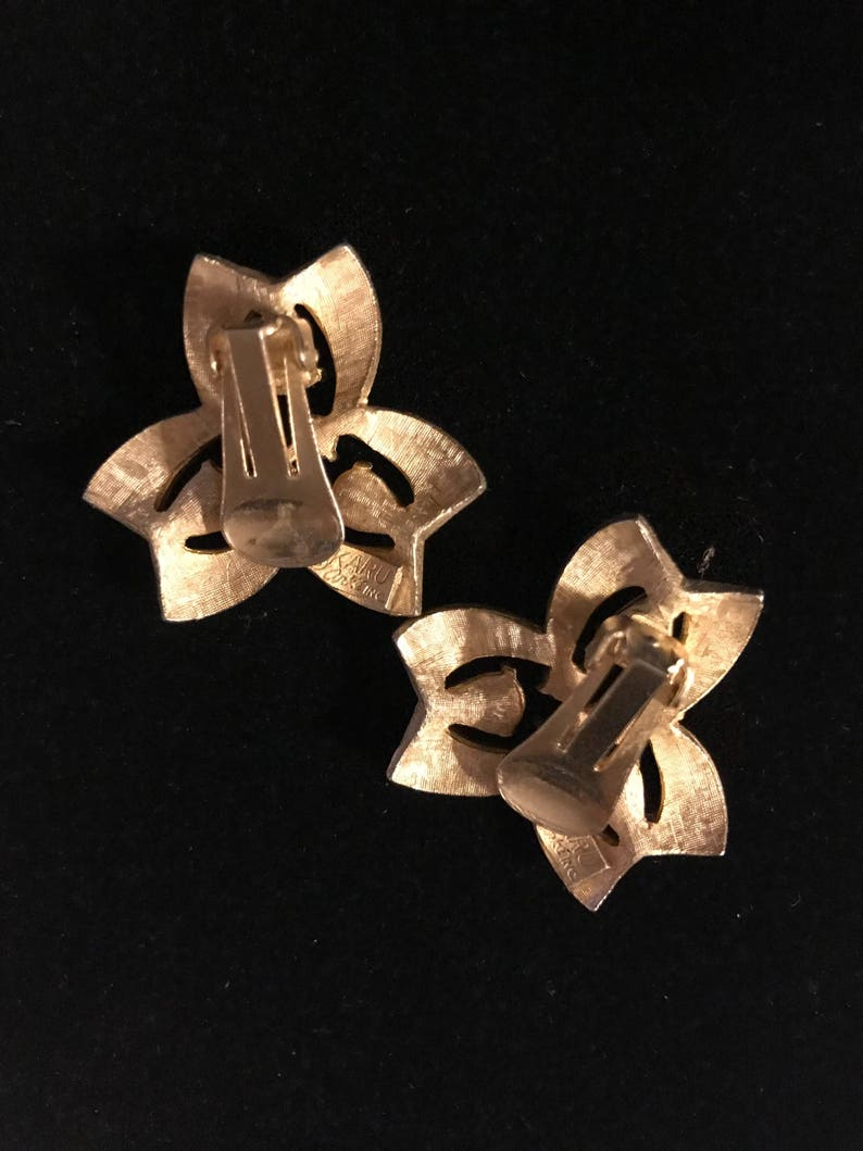 Earrings MOVING SALE Vintage Karu Arke Inc Bracelet and 3 Piece Gold Tone wTear Rhinestones Necklace
