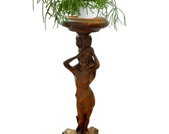 """20% OFF Antique French Art Nouveau Carved Wood Female Figure Pedestal Standing Ashtray / 27"""" Tall"""
