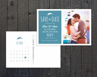 Save the Date Postcard, Calendar, Postcard Wedding, Photo Save the Date, Feather, Wedding Save the Date, DIY, Digital File, Printable
