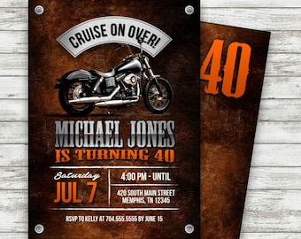 Motorcycle Biker Birthday Invitation Vintage Invite Harley Davidson Printable