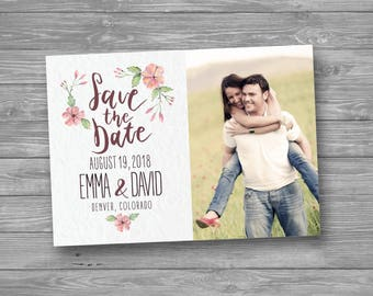 Floral Save the Date Card, Printable, Watercolor, Simple Rustic Wedding Announcement, Outdoor Modern Marriage, Photo Save the Date, DIY