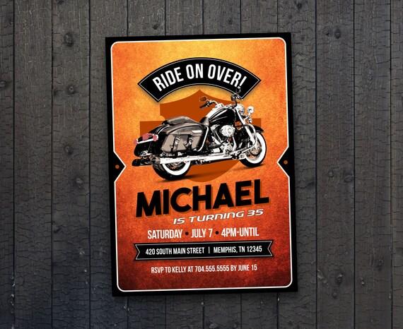 Motocykl Biker Urodziny Zaproszenie Urodziny Vintage Etsy
