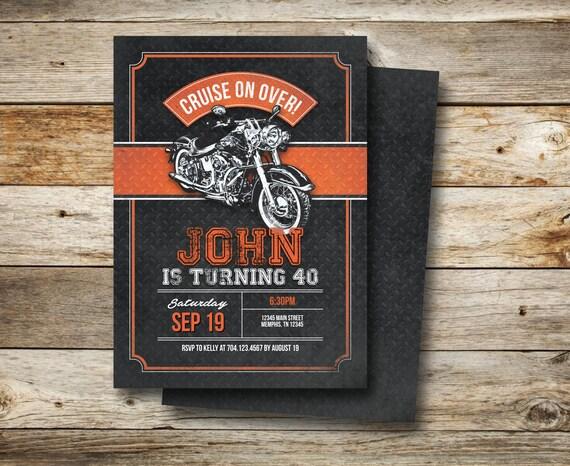 HARLEY DAVIDSON BIRTHDAY PARTY INVITATIONS Motorcycle Biker Birthday Invitation Vintage