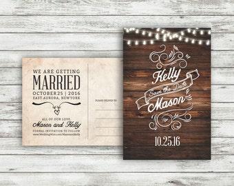 Rustic Wedding Save-The-Date Postcard, Vintage Wedding, Save the Date Postcard, Wedding Save the Date, Twinkle Light Wedding - Printable