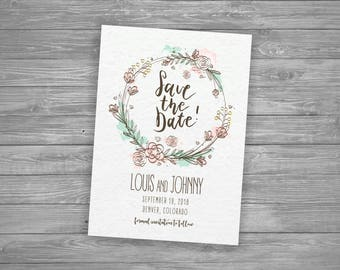 Floral Save the Date Card, Printable, Watercolor, Simple Rustic Wedding Announcement, Outdoor Modern Marriage, DIY
