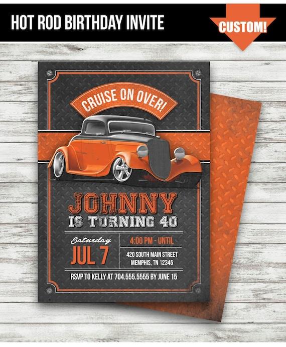 Hot Rod Birthday Party Invitation Vintage Car Orange Etsy
