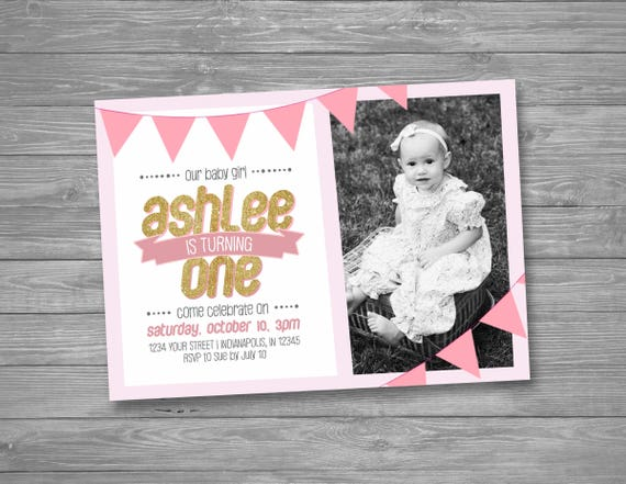 First Birthday Invitation Girl Baby Invite