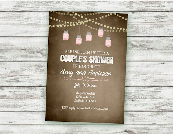 864deeecf269 Couples Shower Invitation Rustic String Lights Vintage