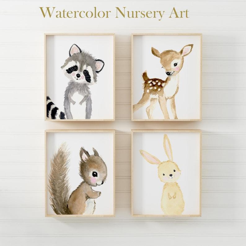 Woodland Nursery Prints Set 4 Neutral Nursery Art  Nursery image 0