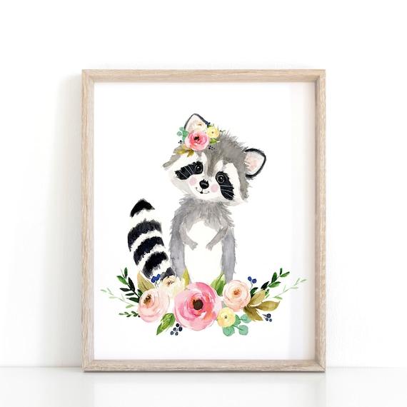 Blume Krone Tiere Blumen Kinderzimmer Waschbar Malerei Etsy