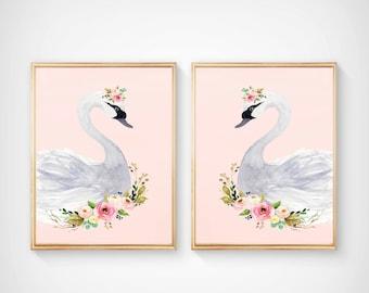 Watercolor swan set, Nursery Print set - Nursery Art - Nursery Decor- floral nursery-Art-nursery decor, blush pink and black- nursery art