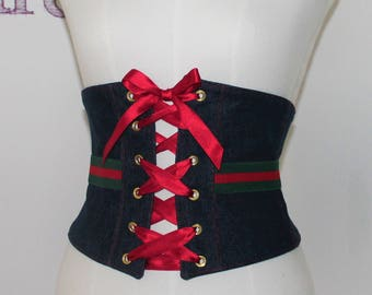 Denim belt with elastic Gucci-denim waistband with elastic Gucci