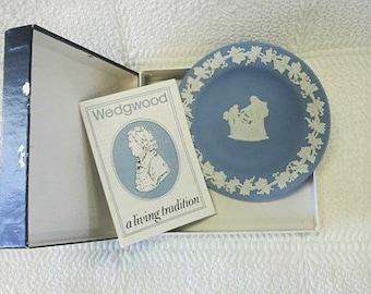 Vintage Wedgwood Blue Jasperware Trinket Dish, Display Dish, Collectible Wedgwood Jasperware, Mint Condition 1980's Made in England