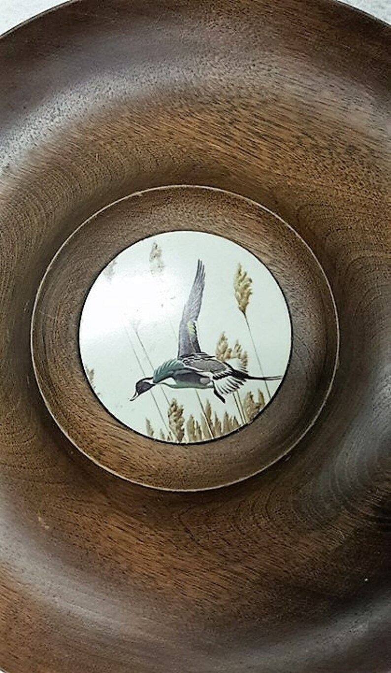 Vintage Woodbury Woodware Beautiful Vintage Wood Serving Bowl Collectible Inc Hand Turned Bowl With Pheasant Duck Flying On Center Tile