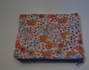 Orange Floral  Zip Pouch, Makeup Bag, Cosmetic Bag, Pencil Case