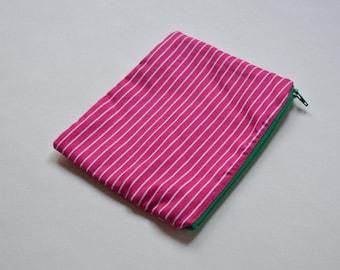 Watermelon Stripe Zip Pouch, Makeup Bag, Cosmetic Bag, Pencil Case