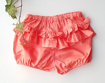 BABY Toddler girls bloomers nappy cover pants, diaper cover watermelon pink red Ruffle pants size 2 years Ready to ship