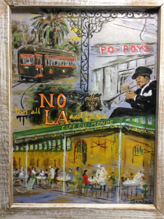 CANVAS Collage of Cajun Culture Signs Art print POSTER
