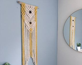 Handmade Macrame Wall Hanging / Large Arrow Design / Naturally Dyed / Wood Beads